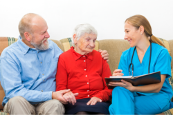 Counseling the elderly couple.