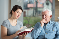 Counseling an elderly man.